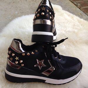 Sergio Todzi black studded wedge platform sneakers
